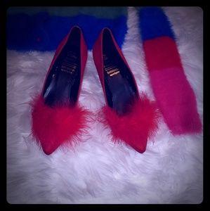 Red faux suede marabou kitten heels